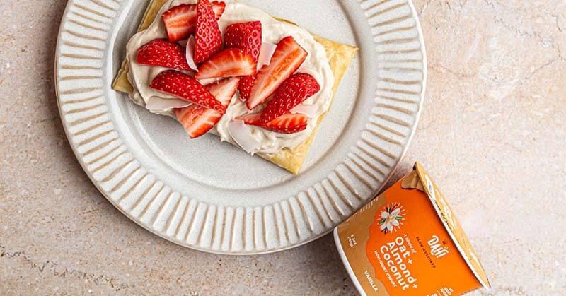 Vegan Puff Pastry with Yogurt and Strawberries Recipe